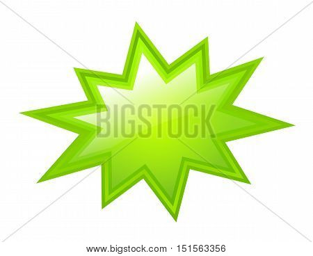 Green bursting star icon vector illustration isolated on white background