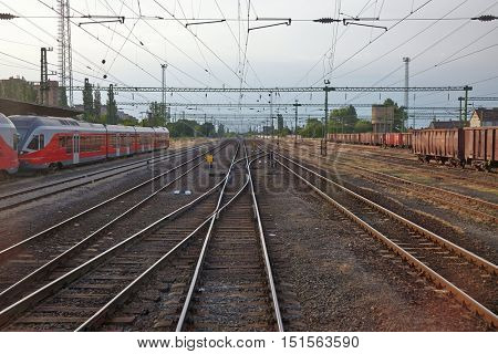 Railway tracks at a railroad station