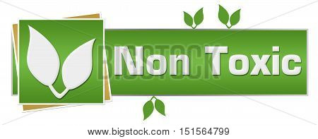 Non toxic concept image with text and leaves on green background.
