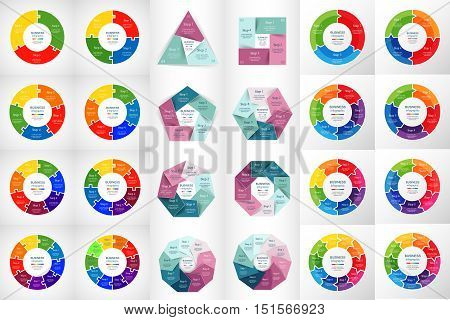 Vector circle infographic set. Business diagrams round arrows graphs puzzle presentations and charts. Data infographics with 3 4 5 6 7 8 9 10 options parts steps cycle processes.