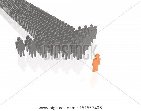 Red and grey mans on white reflective background, 3D illustration.