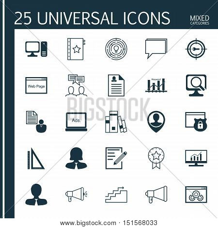 Set Of 25 Universal Icons On Female Application, Market Research, Announcement And More Topics. Vector Icon Set Including Computer, Innovation, Keyword Marketing And Other Icons.