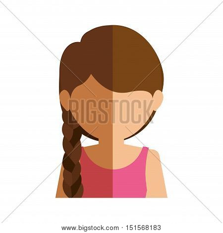 half body gilr half brunette and caucasian with tail vector illustration