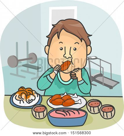 Illustration of a Man in Workout Clothes Consuming Large Quantities of Food After Working Out