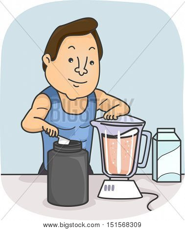 Fitness Illustration of a Muscular Man in Training Clothes Preparing a Protein Shake