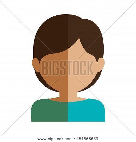 half body gilr half brunette and caucasian short hair vector illustration
