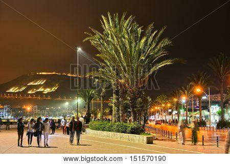 AGADIR MOROCCO - SEPT 29 2016: Rue La Plage by night. Agadir is one of the major urban centres of Morocco and famous tourist destination.