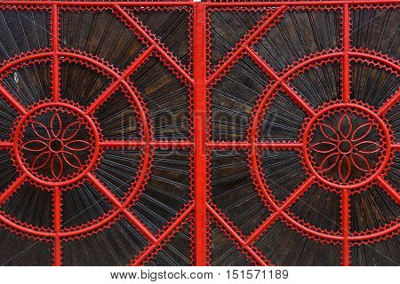 Detail Of A Red Forged Metallic Gate