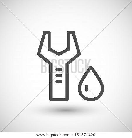 Plumbing maintenance line icon isolated on grey. Vector illustration