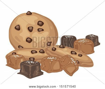 an illustration of salted caramel candies with chocolate coating and chocolate chip cookies on a white background