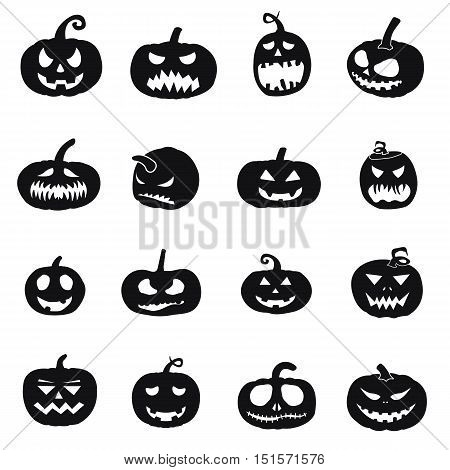 halloween pumpkins icons, pumpkin silhouettes, halloween illustration