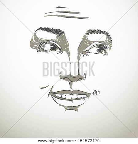 Monochrome vector hand-drawn image blameworthy young woman. Black and white illustration of regretful girl.