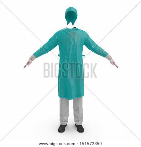 Medical workers clothes stained with blood isolated on white background. No people. 3D illustration