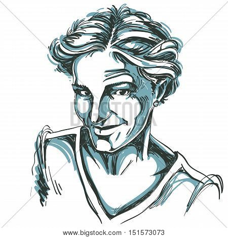 Monochrome vector hand-drawn image skeptic young woman. Black and white illustration of tricky girl with short hair.