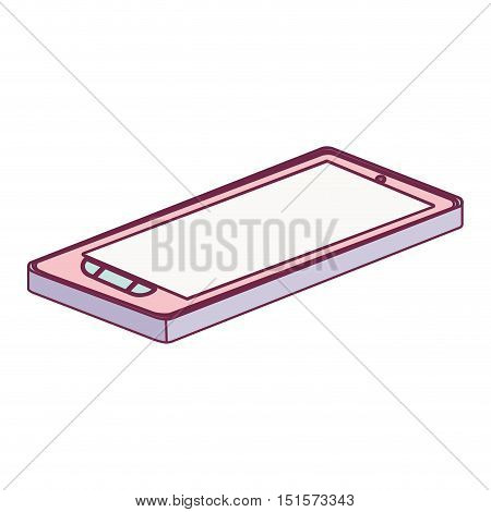 tech touch tablet camera with buttons lying down minimalist vector illustration