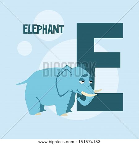 card with the letter E for a children's book. vector illustration