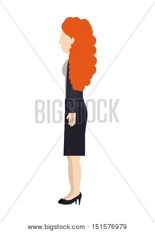 woman standing suit dress left profiles curly redhair vector illustration