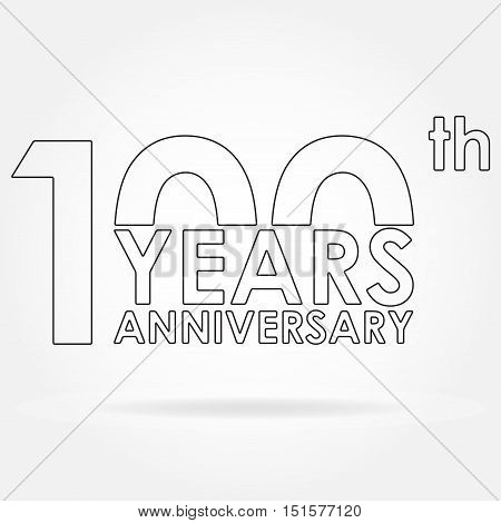 100 years anniversary sign or emblem. Template for celebration and congratulation design. Outline vector illustration of 100th anniversary label.