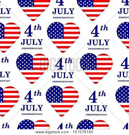 4th of July. Independence Day seamless pattern. United states of America. USA. American flag. Holiday.Hearts.