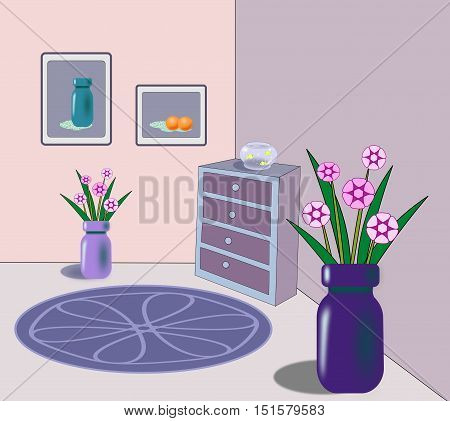A room with a commode with a goldfish bowl and vases of flowers on the floor, a round rug and frames on the wall.