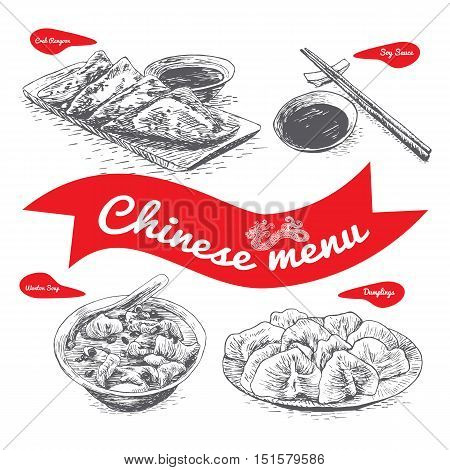 Chinese menu illustration. Vector illustration of Chinese cuisine.
