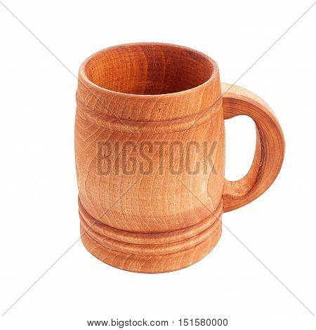 Wooden cup with handle isolated on white