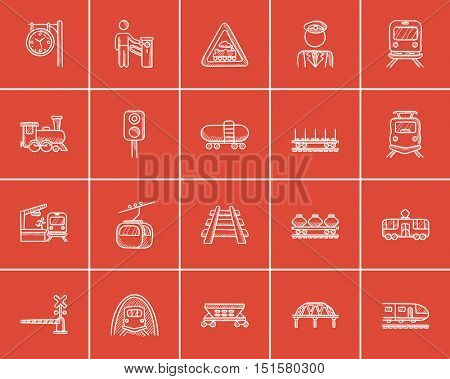 Transportation sketch icon set for web, mobile and infographics. Hand drawn transportation icon set. Transportation vector icon set. Transportation icon set isolated on red background.