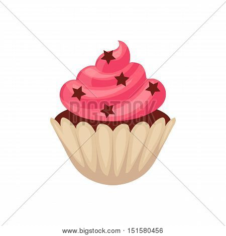 Chocolate cupcake with pink colored icing, cartoon vector illustration isolated on white background. Chocolate muffin, cupcake with pink icing and stars, isolated dessert, yummy looking sweets