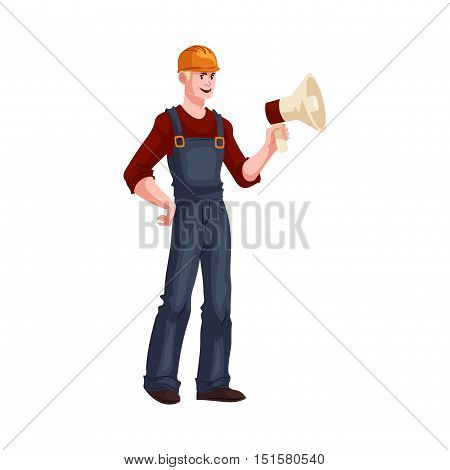 Full length portrait of young and handsome foreman with a loudspeaker, cartoon style vector illustration isolated on white background. Foreman in orange helmet and blue overalls holding a lodspeaker