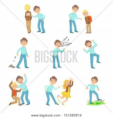 Older Boy Bullying Young Children And Behaving Badly Set. Bright Color Isolated Vector Drawings In Simple Cartoon Design On White Background poster