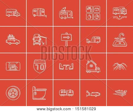 Travel and holiday sketch icon set for web, mobile and infographics. Hand drawn travel icon set. Travel and holiday vector icon set. Travel and holiday icon set isolated on red background.