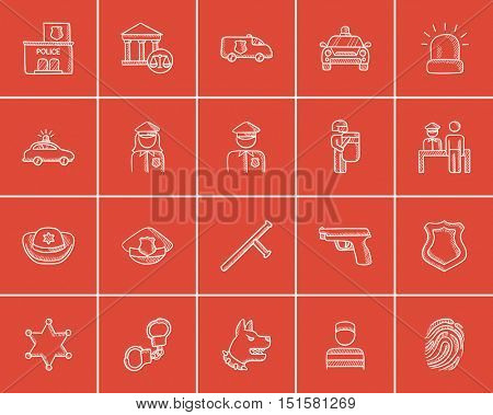 Police sketch icon set for web, mobile and infographics. Hand drawn police icon set. Police vector icon set. Police icon set isolated on red background.