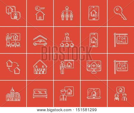 Real estate sketch icon set for web, mobile and infographics. Hand drawn real estate icon set. Real estate vector icon set. Real estate icon set isolated on red background.