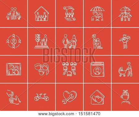 Family sketch icon set for web, mobile and infographics. Hand drawn family icon set. Family vector icon set. Family icon set isolated on red background.