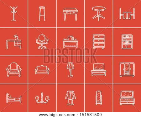 Furniture sketch icon set for web, mobile and infographics. Hand drawn furniture icon set. Furniture vector icon set. Furniture icon set isolated on red background.