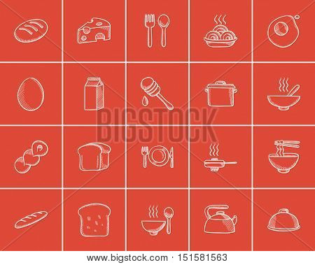 Food and drink sketch icon set for web, mobile and infographics. Hand drawn food and drink icon set. Food and drink vector icon set. Food and drink icon set isolated on red background.