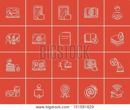 Self-education sketch icon set for web, mobile and infographics. Hand drawn self-education icon set. Self-education vector icon set. Self-education icon set isolated on red background.