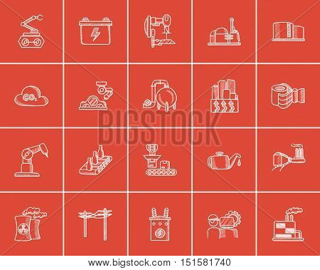 Industry sketch icon set for web, mobile and infographics. Hand drawn industry icon set. Industry vector icon set. Industry icon set isolated on red background.