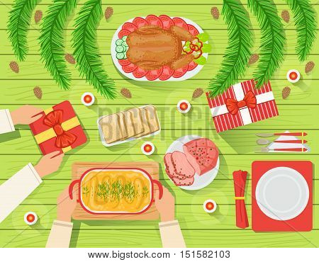 Couple With The Traditionally Served Christmas Table View From Above. Simple Bright Color Vector Illustration With Only Hands Visible, Presents And Holiday Food.