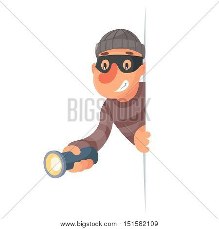 Thief with flashlight peeping out of corner cartoon design vector illustration