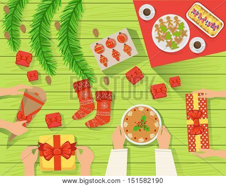 Family At The Traditionally Served Christmas Table View From Above. Simple Bright Color Vector Illustration With Only Hands Visible, Presents And Holiday Food.