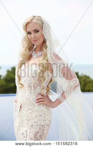 Beautiful Bride Portrait Wedding Makeup And Wavy Hairstyle, Girl In White Veil, Jewelry Model, Fashi