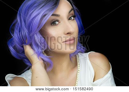young girl with purple short hair posing