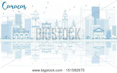 Outline Caracas Skyline with Blue Buildings and Reflections. Vector Illustration. Business Travel and Tourism Concept with Historic Architecture. Image for Presentation Banner Placard and Web Site.