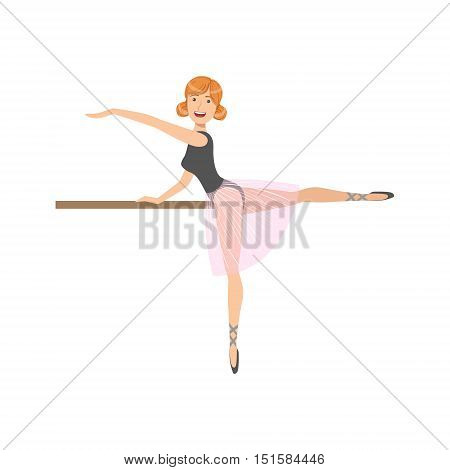 Girl In Pink Skirt In Ballet Dance Class Exercising With The Pole. Flat Simplified Childish Style Classic Dance Position Illustration Isolated On White Background.