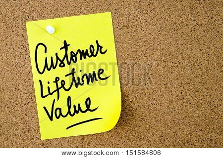 Customer Lifetime Value Text Written On Yellow Paper Note