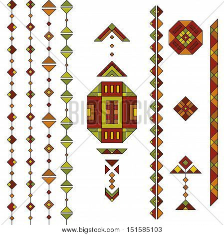 Autumn colored ethnic South America abstract vector geometric elements set. Mexican, peru or aztec motifs