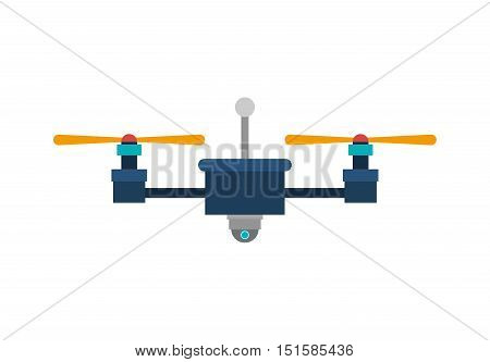 drone with camera and two airscrew vector illustration