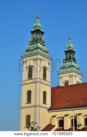 Baroque style in Budapest, Inner City Church twin belfries the oldest building in Pest district