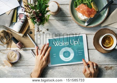 Alarm Clock Wake Up Time Reminder Personal Organizer Concept